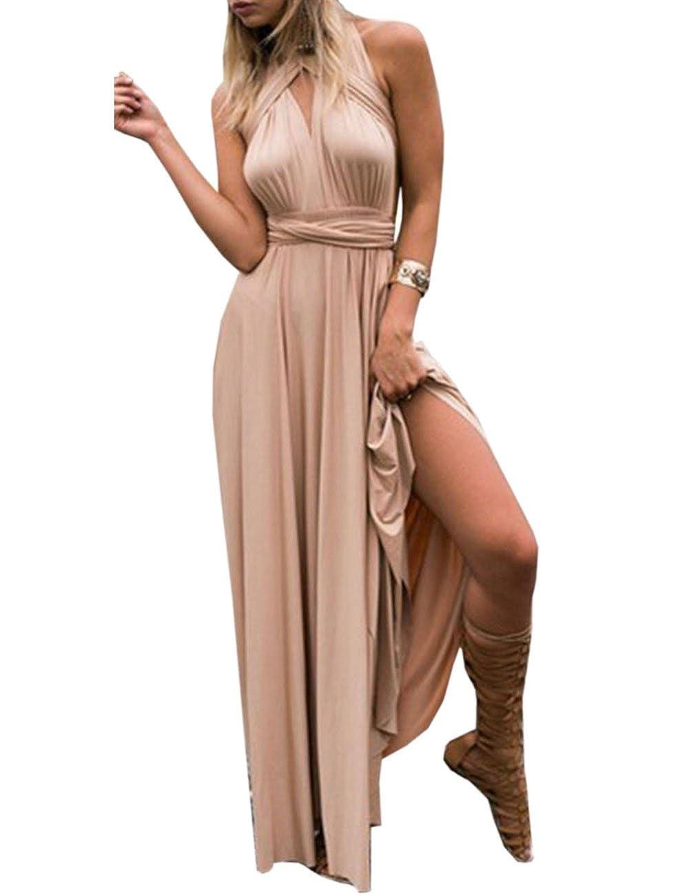 TALLA S. EMMA Mujeres Falda Larga de Cóctel Vestido de Noche Dama de Honor Elegante sin Respaldo Champán S