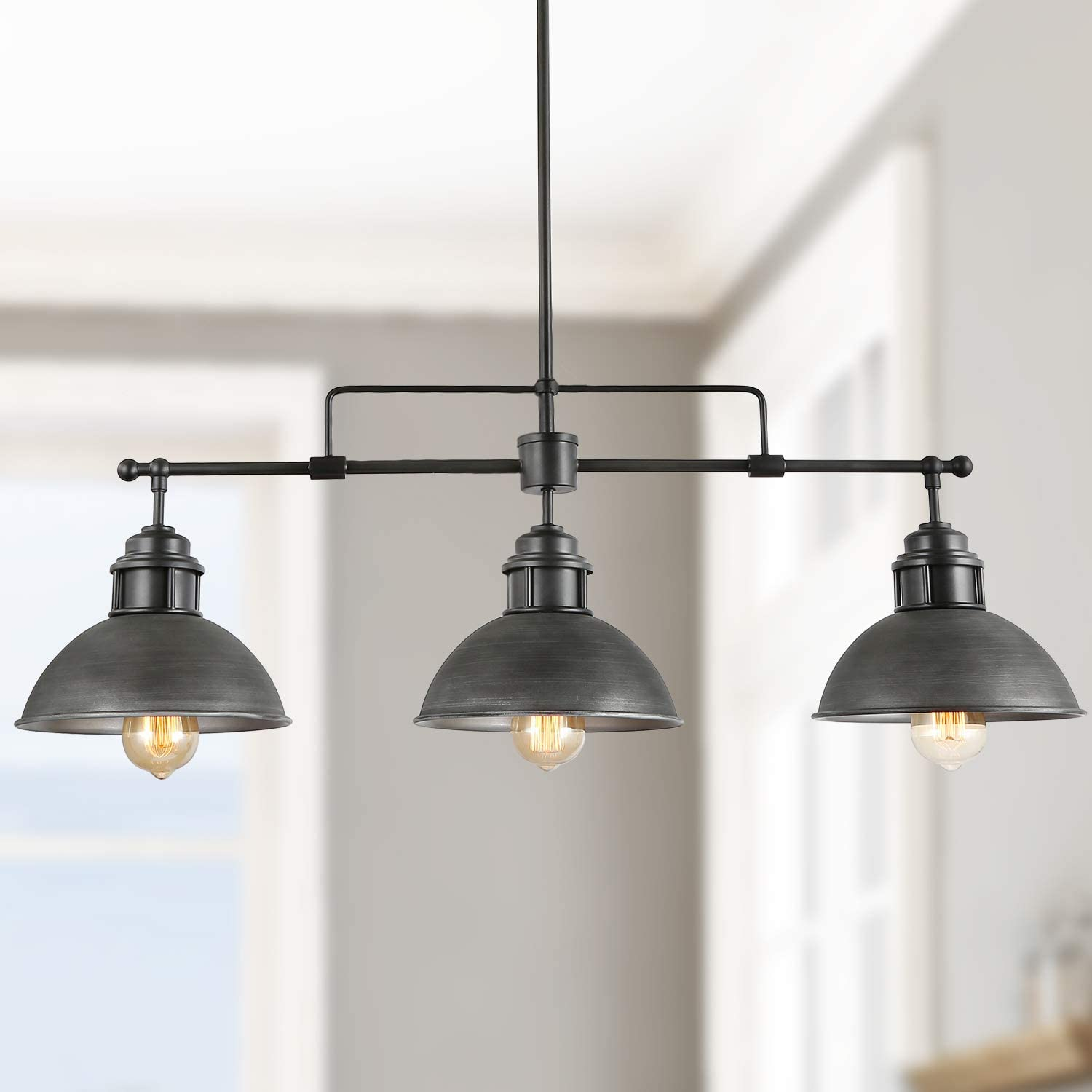 Log Barn Pendant Lighting For Kitchen Island Black Chandelier In Brushed Antique Dark Metal Finish Industrial Linear Ceiling Fixture Hanging For Dining Rooms Pool Tables Amazon Com