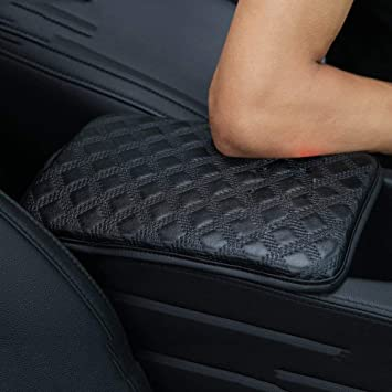 PU Leather Universal Car Armrest Seat Box Cover Cushion Protector Black Console Cover Armrest Pads EGBANG Auto Center Console Pad