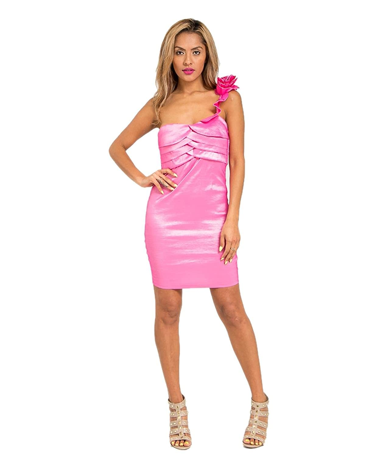 G2 Chic Women's Single Strap Pleated Panel Chic Cocktail Dress
