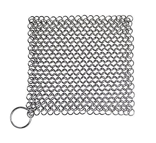 Stainless Seats Shower Steel (Stainless Steel Cast Iron Cleaner - 8x6 Inch Stainless Steel 316 Cleaning Brush Chainmail Scrubber for Cast Iron Skillet After Cooking in Kitchen,Does Not Rust like Steel Wool and alose Protects Co)