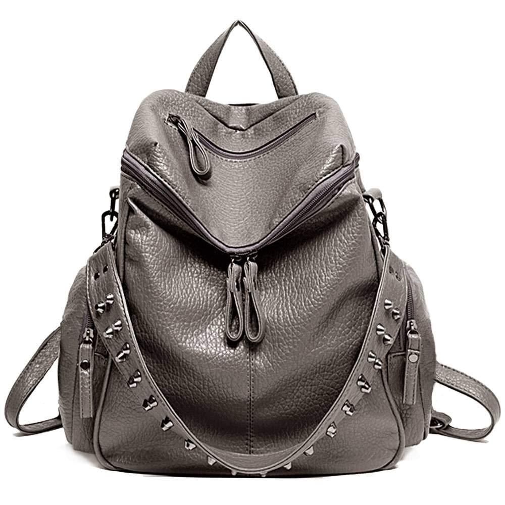 UTO Women Backpack Purse 3 ways PU Washed Leather Rivet Studded Ladies Rucksack Shoulder Bag 18000176-1ca