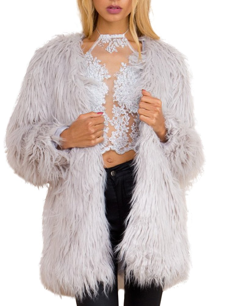 Simplee Apparel Women's Long Sleeve Fluffy Faux Fur Warm Coat,Gray,Size : Asian XXL,US 10