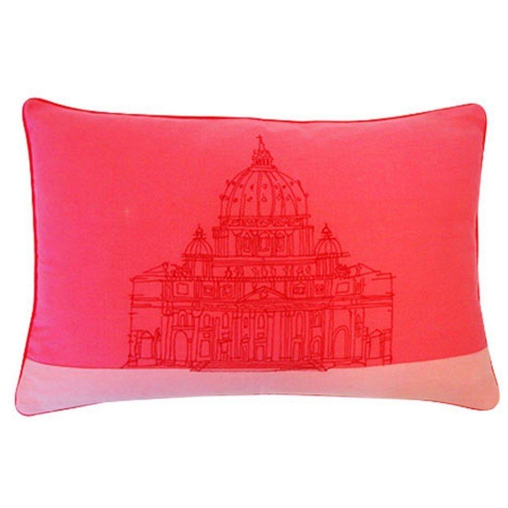 Vivai Home Pink Sanctuary Print Rectangle 16x 24 Cotton Feather Throw Pillow