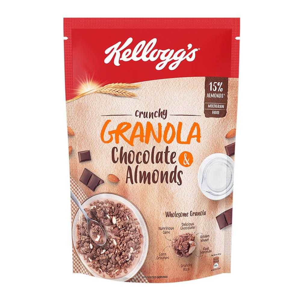 Kellogg's Crunchy GranolaChocolate & Almonds|Breakfast Cereals | Multigrain Flakes, 450g