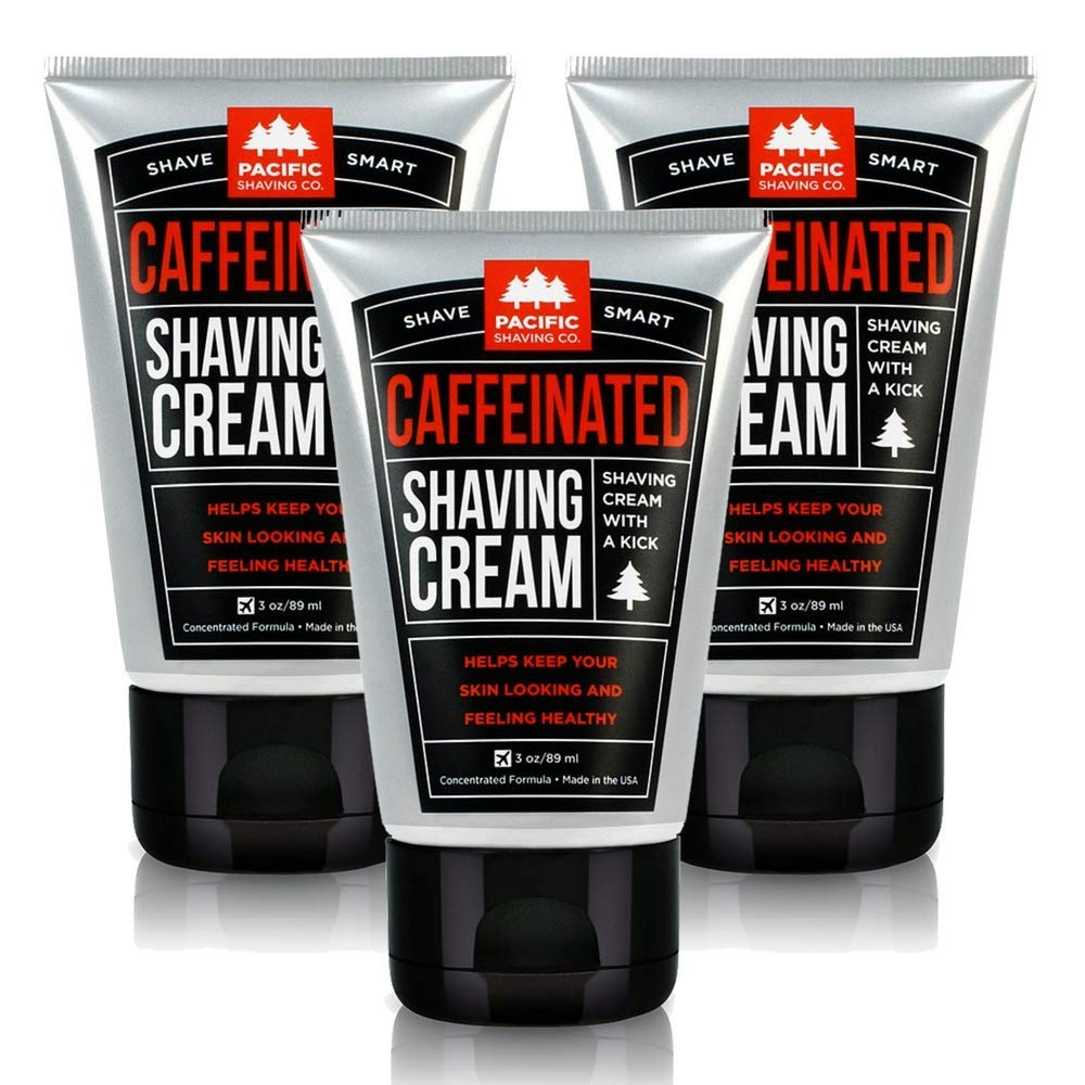 Pacific Shaving Company Caffeinated Shaving Cream - Helps Reduce Appearance of Redness, With Safe, Natural, and Plant-Derived Ingredients, Soothes Skin, No Parabens, Made in USA, 3.4 oz (3 Pack)