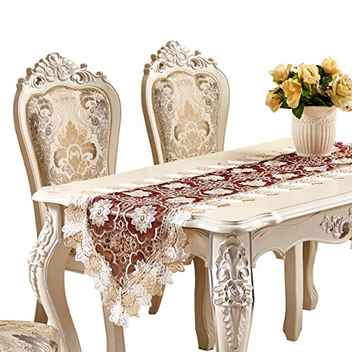 - Adasmile Lace Table Runner Handmade Embroidered Floral Dresser Scarves 78