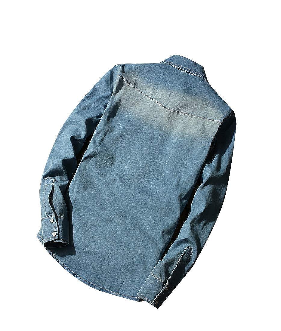 Unastar Mens Oversized Button Long-Sleeve Casual Cowboy Regular Shirt