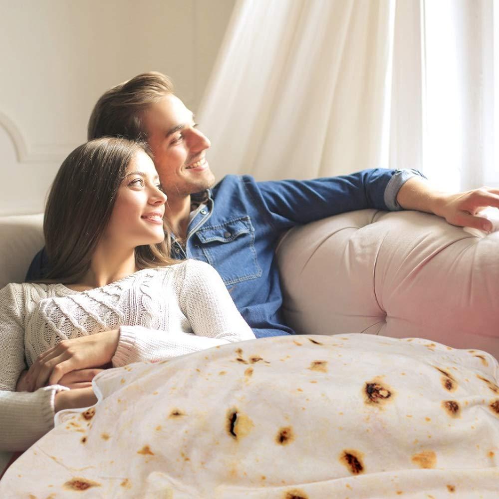 Home Deco Manta de Tortilla de Burrito Súper Suave Cálida Resistente a Las Arrugas Reversible de 100% Microfibra de Poliéster Manta de Franela para ...