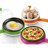 Harikrishnavilla 2-In-1 Electric Automatic Off Non-Stick Mini Multifunctional Egg Steaming and Frying Device (Multicolour)