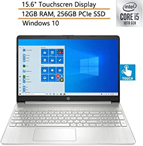 "2020 HP 15 15.6"" Touchscreen Laptop Computer, 10th Gen Intel Quad-Core i5 1035G1 Up to 3.6GHz, 12GB DDR4 RAM, 256GB PCIe SSD, Silver, Windows 10, iPuzzle Mouse Pad"