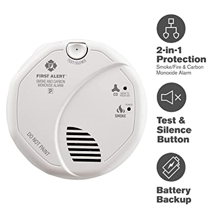 First Alert Smoke Detector and Carbon Monoxide Detector Alarm | Hardwired  with Battery Backup, BRK SC7010B