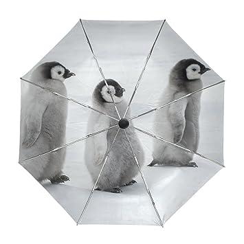 ALAZA Pingüinos Lindo Viaje Paraguas de Apertura automática Cerca de Protección a Prueba de Viento UV