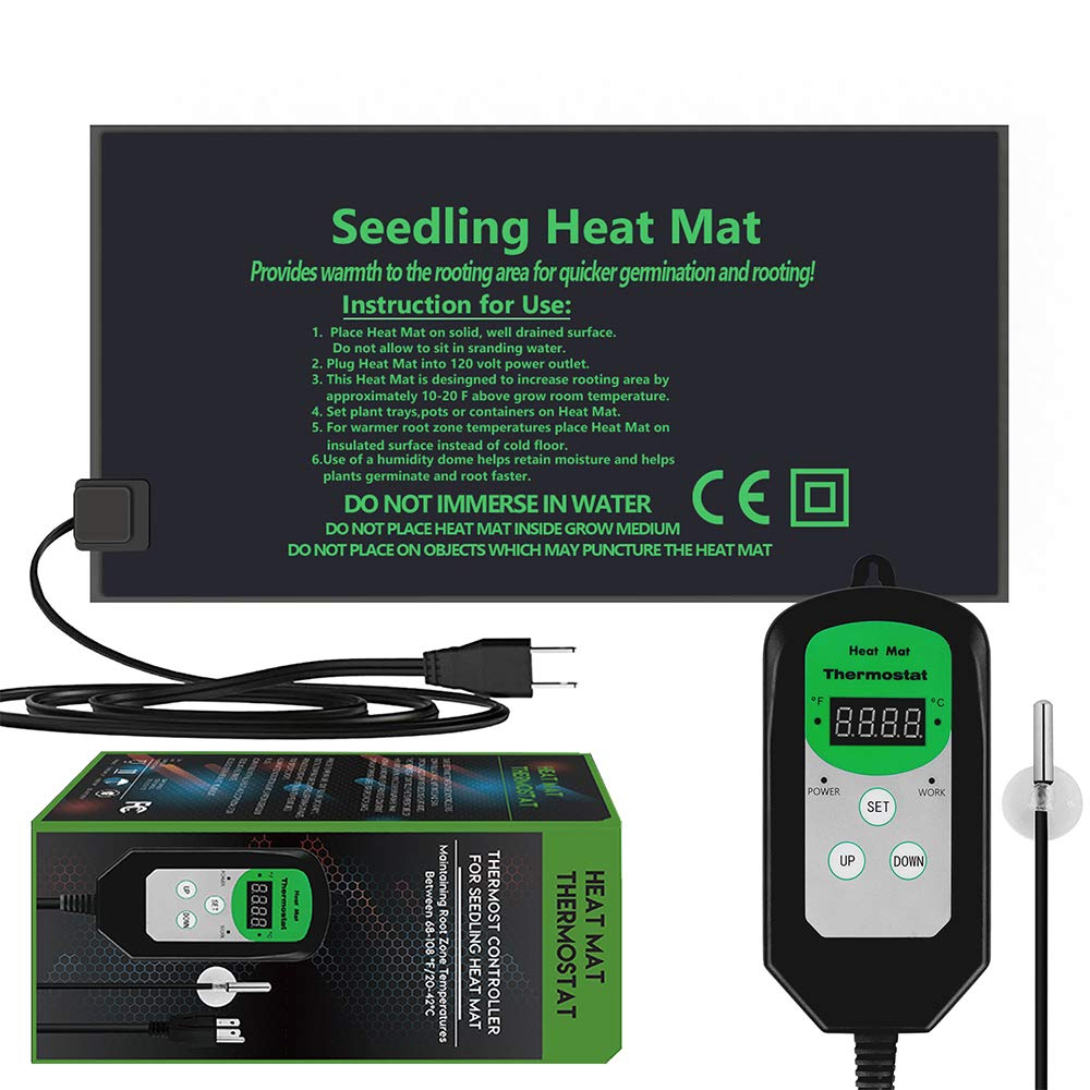 """EACHON 10""""x20.5"""" Seedling Heat Mat and Thermostat Controller IP65 Waterproof Seed Starting Plant Heating Pad (Heated mat+Thermostat Controller)"""