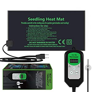 "EACHON 10""x20.5"" Seedling Heat Mat and Thermostat Controller IP65 Waterproof Seed Starting Plant Heating Pad (Heated mat+Thermostat Controller)"