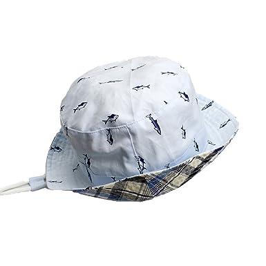 67b716344b76 Enfants bébé seau chapeau Bonnet de soleil réversible en coton chapeau de  plage pliable avec mentonnière