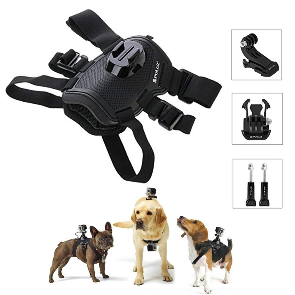 jiguoor PULUZ Hound Dog Harness Adjustable Chest Strap Mount Belt Fetch Mount Compatible GoPro Hero 7/6/5/5 Session /4 Session /4/3+ /3/2 /1, Xiaoyi and Other Action Cameras (Dog Harness)