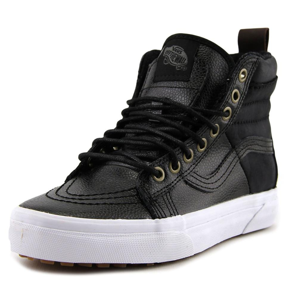 Vans Sk8-Hi Unisex Casual High-Top Skate Shoes, Comfortable and Durable in Signature Waffle Rubber Sole B019KUI3DG 5.5 M US Women / 4 M US Men|(Pebbled Leather) Black