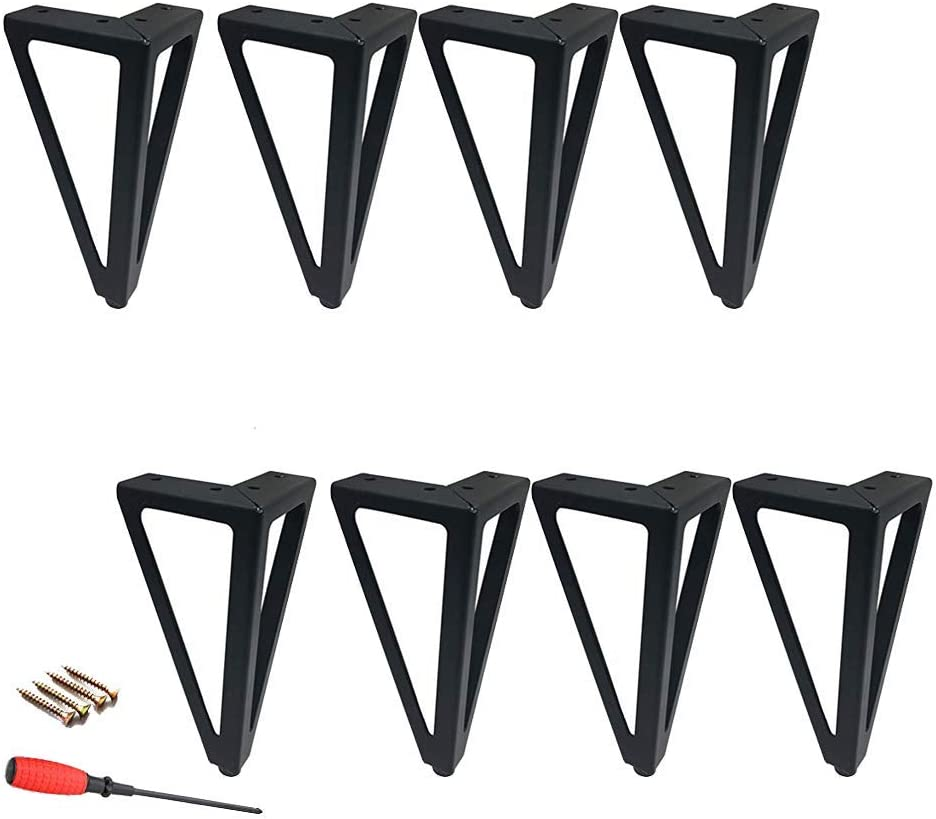 Black Furniture Legs, Metal Sofa Feet Replacement Feet, Wrought Iron Bathroom Cabinet Feet, Carrying Capacity 800KG, with Screws (6.1inch/15.5cm,8pcs)