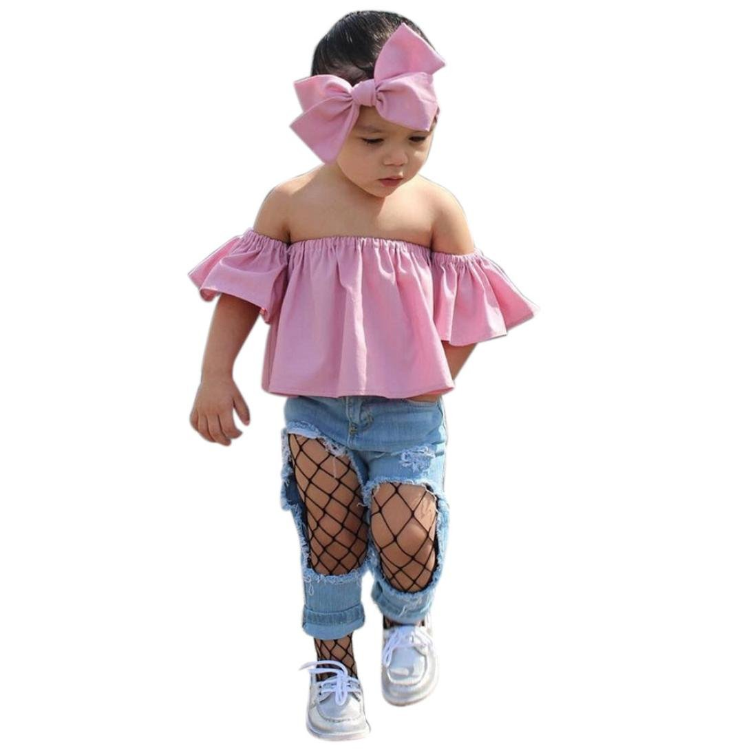 b9f9684ef Amazon.com  Goodlock Toddler Kids Fashion Clothes Set Baby Girl Off ...