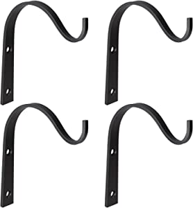 Mkono Iron Wall Hooks Metal Lantern Bracket Decorative Coat Hook for Hanging Lantern,Bird Feeders,Wind Chimes,Plant Planter,Coat, Indoor Outdoor Rustic Home Decor, 4 Pack, 6 Inches