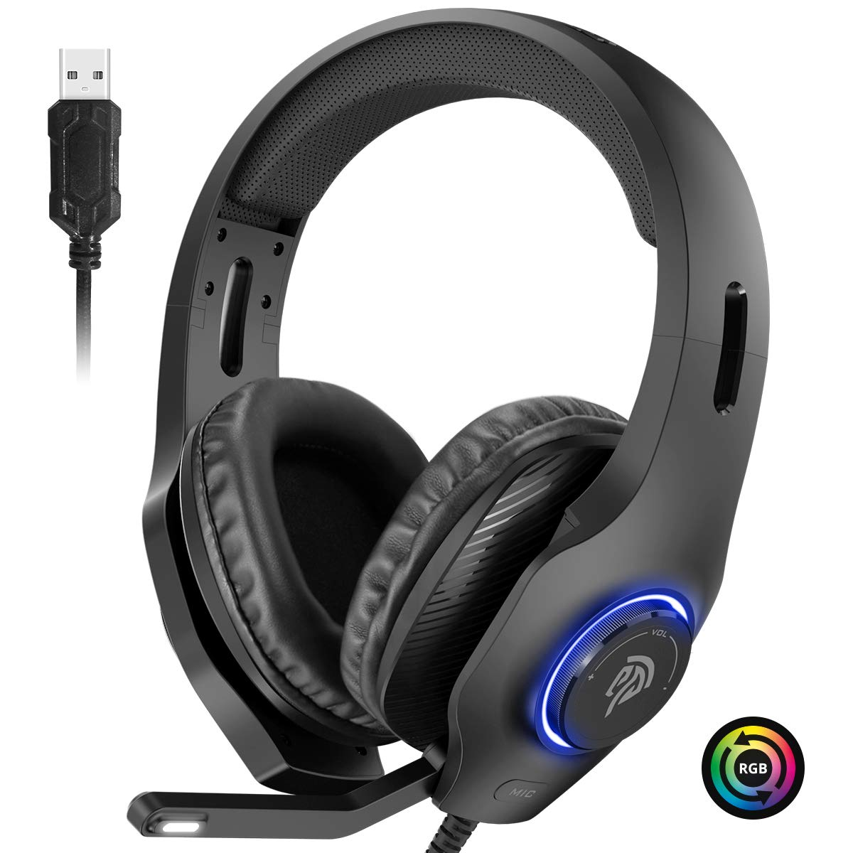 EasySMX PS4 Headset, Headset with Mic, [7.1 Surround Sound], [Noise Reduction Mic], On-Earcup Control, RGB LED Lights, Professional PC Gaming Headset, Gaming Headphones for PS4, PS3, Laptop by EasySMX