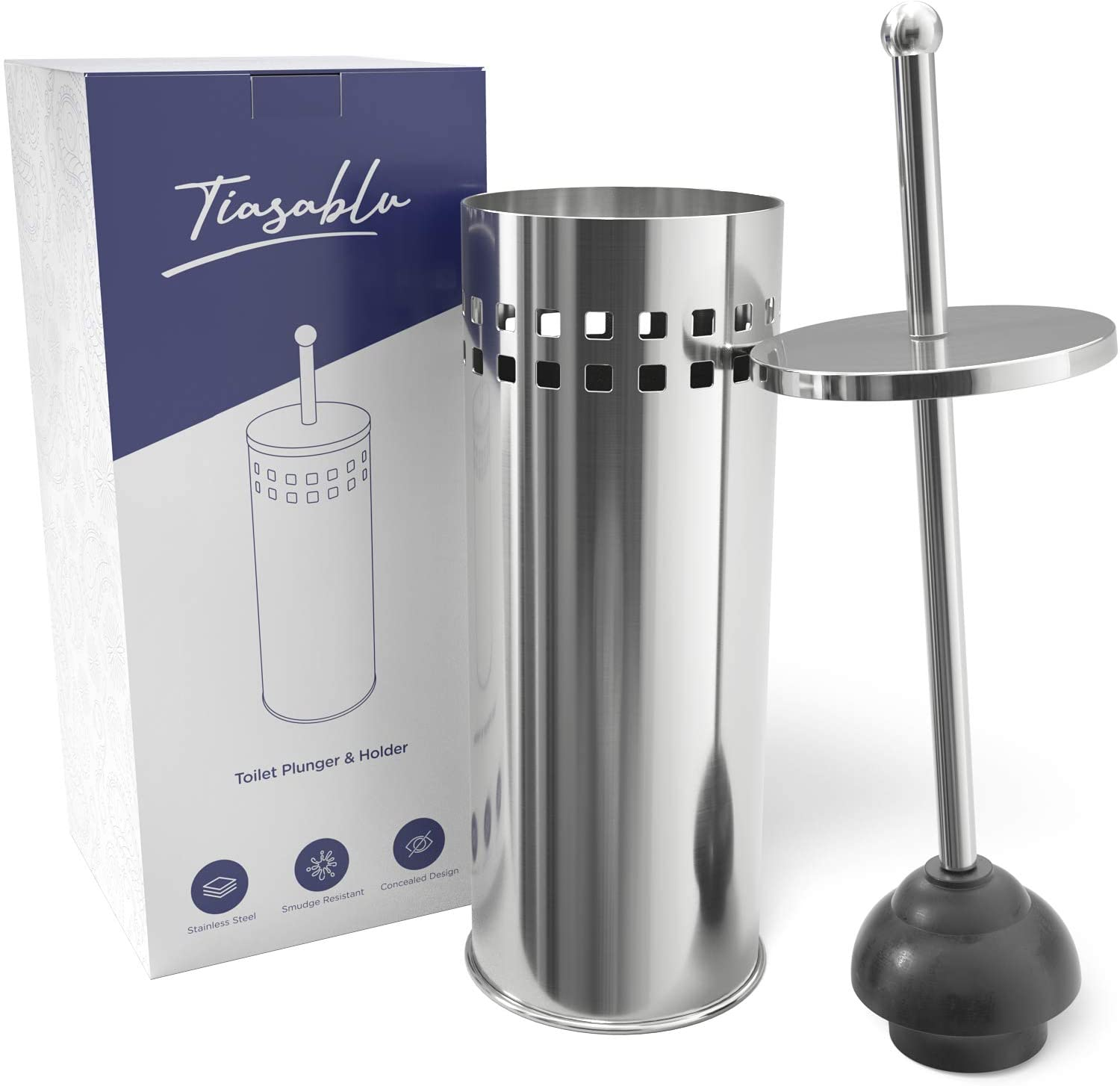 Tiasablu Plunger with Concealed Holder - Heavy Duty, No Splash Back, Long Handle - Discreet Toilet Plunger for Bathroom