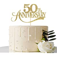 Gold Glitter 50th Anniversary Cake Topper - for 50th Wedding Anniversary / 50th Anniversary Party / 50th Birthday Party…