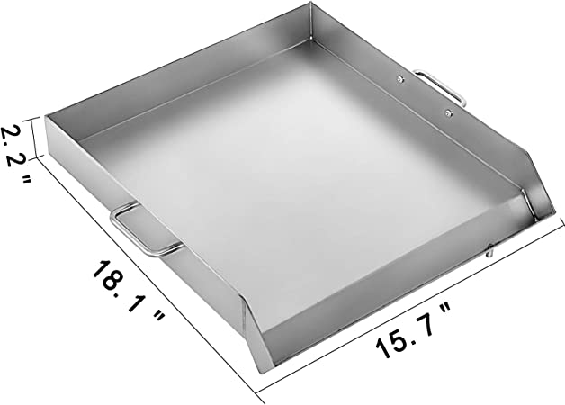 Griddle//18 x16 VEVOR Universal Flat Top Griddle 18 x 16 Stainless Steel Plancha Comal BBQ Tray with Handles