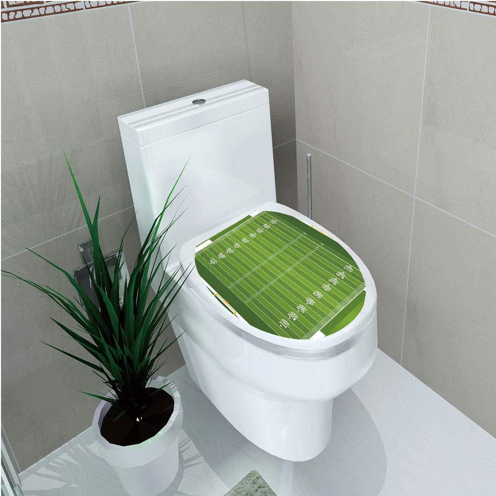 Toilet Custom Sticker,Football,Sports Field in Green Gridiron Yard Competitive Games College Teamwork Superbowl,Green White,Diversified Design,W11.8''xH14.2''