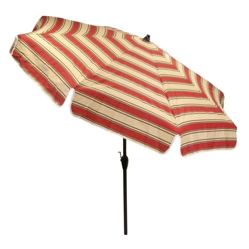 Hampton Bay 7.5 ft. Aluminum Patio Garden Umbrella in Chadlark Stripe
