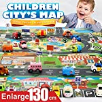 CGKUITER Kids Fun Play Mat City Road Buildings Parking Map Game Scene Map Educational Toys(51.1x39.3in)