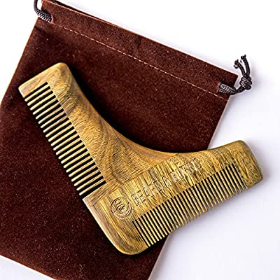 Wooden Beard Comb Shaping Tool - 100% Natural Sandalwood - Template for Grooming and Shape Up Cheekline and Jawline Trimming Stylish Shaper And Shaving Accessories / Stencil for Men