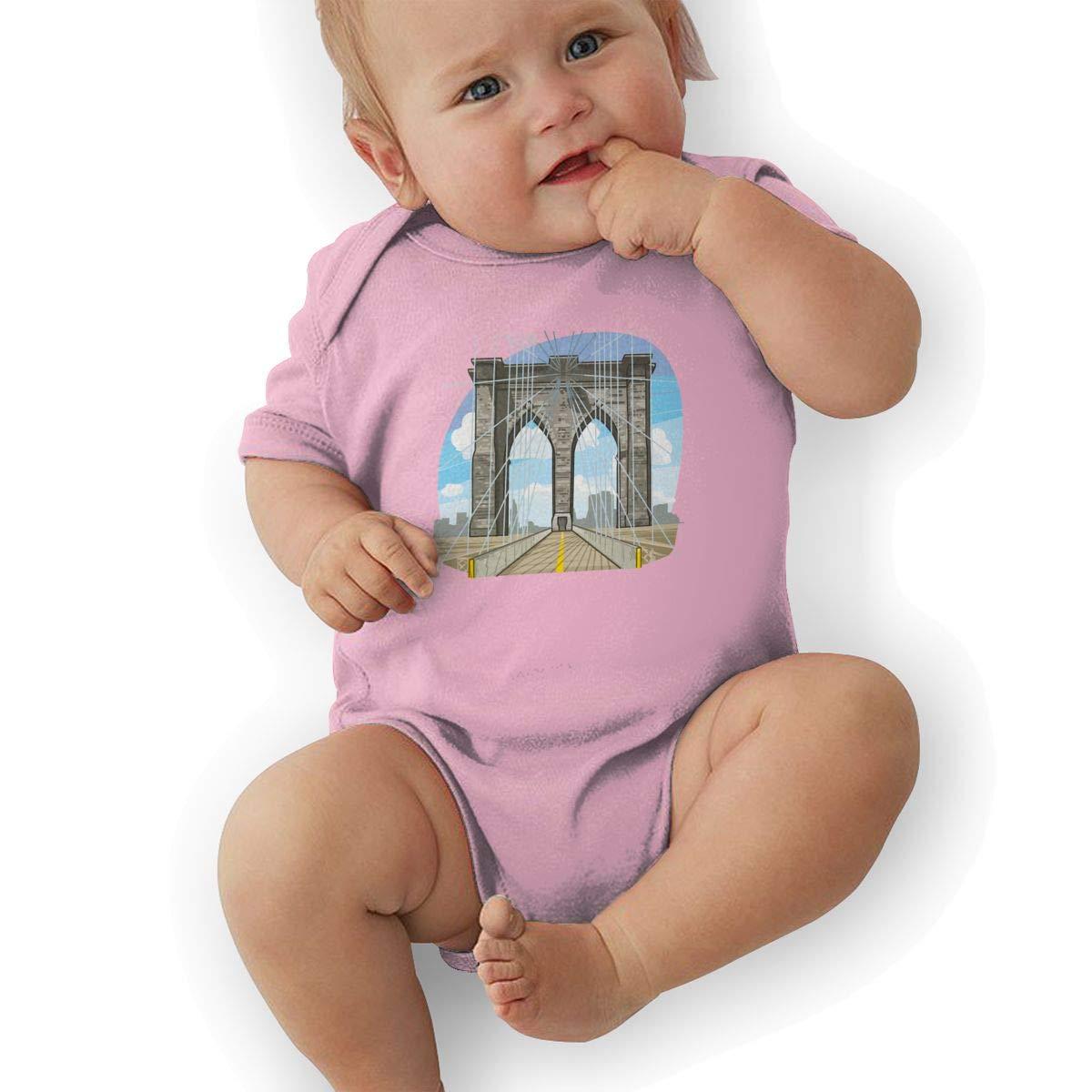 Infant Baby Girls Bodysuit Short-Sleeve Onesie A Wide Bridge Print Outfit Winter Pajamas