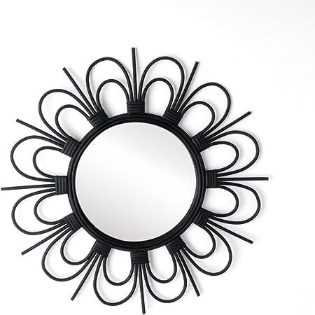 Boho Chic Colore Bianco Leggero per Bagno corridoio o Ingresso 50x50x3 cm. Stile Etnico Rattan Naturale Rattan Black Velvet Studio Specchio Kahala da Parete Decorativo Rotondo