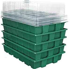 VAlinks Seedling Trays Seed Starter Tray, 5 Pack Plastic Adjustable Gardening Germination Trays, 15 Cells Mini Propagator Plant Grow Kit with Dome and Base, Greenhouse Grow Trays for Seeds Starting