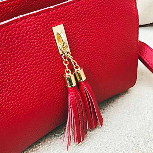Crossbody Lady Bag Women Deals Bag Elegant Shoulder Clearance Phone Bag Leather Bag TOOPOOT Crossbody Red Tassel qOX5wd7B