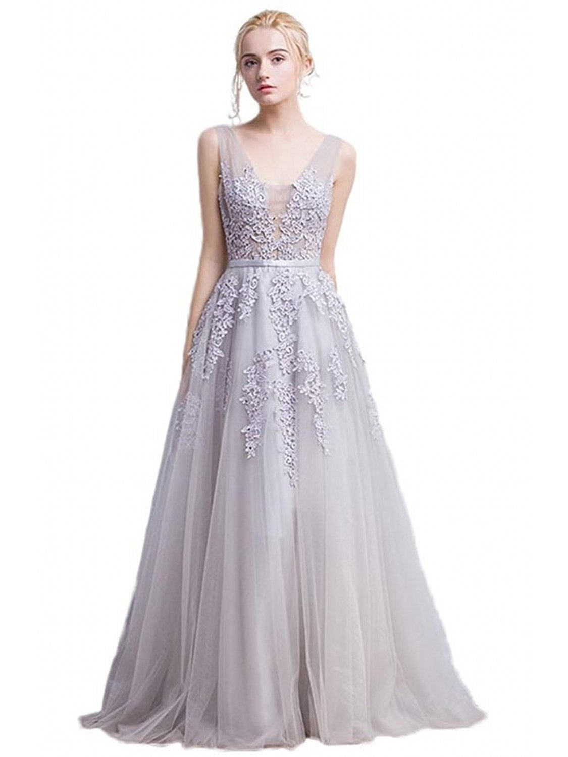 Women's Lace Midi Bridesmaid Prom Dresses (Silver,2) by Babyonlinedress