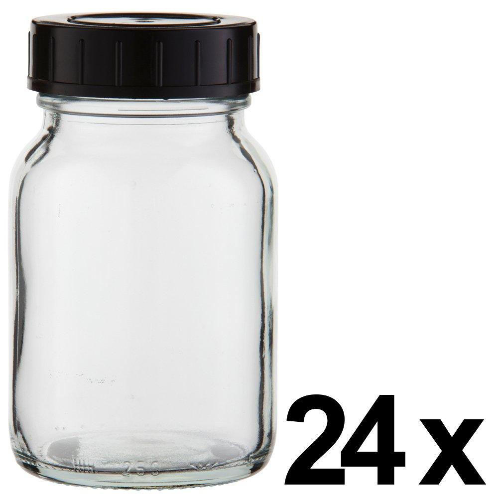 24 x Weithalsflasche 250ml Klarglas inkl. Schraubverschluss mit Dichtungsscheibe *** Weithalsflaschen, Schraubgläser, Weithalsgläser, Glasdosen, Allzweckgläser, Haushaltsgläser, Weithalsglas, Schraubglas, Allzweckglas, Haushaltsglas ***