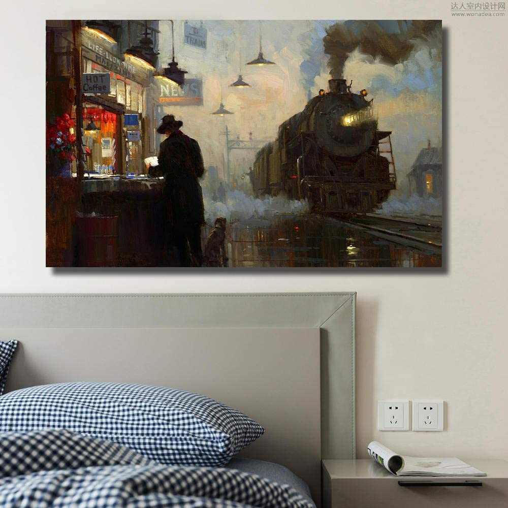 xuxiaojie Train Steam Locomotive Painting Canvas Print Wall Pictures for Living Room Office Posters and Prints 60x90cm -No Frame
