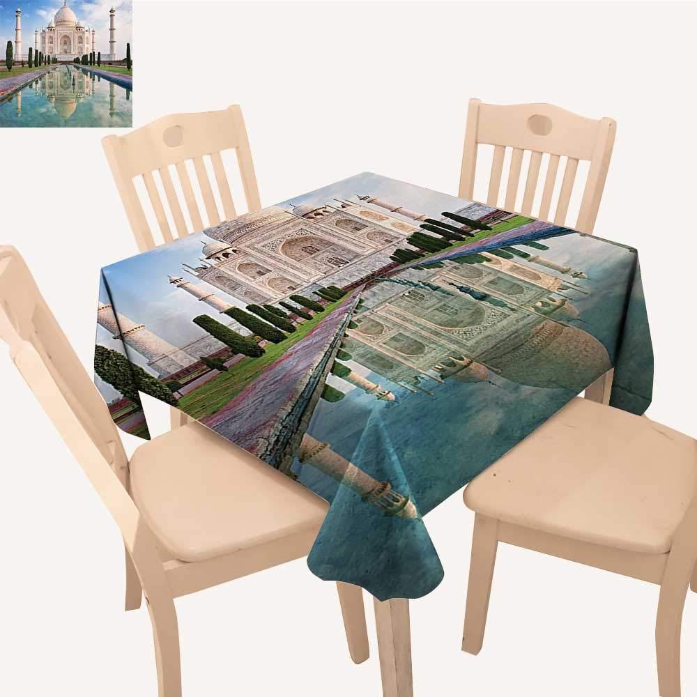 UHOO2018 Decorative Tablecloth Taj Mahal Sunrise Light Dia History Love Story Emperor L Scape Square/Rectangle Kitchen Tablecloth Picnic Cloth,50x 50inch