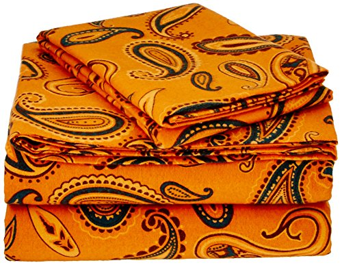 Superior Premium Cotton Flannel Sheets, All Season 100% Brushed Cotton Flannel Bedding, 4-Piece Sheet Set with Deep Fitting Pockets - Pumpkin Paisley, Queen Bed (Queen Paisley Comforter)