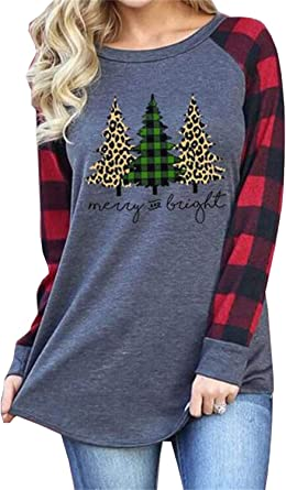 Women Merry Christmas T Shirt Funny Christmas Stripe Long Sleeve Round Neck Casual Pocket Tunic Top