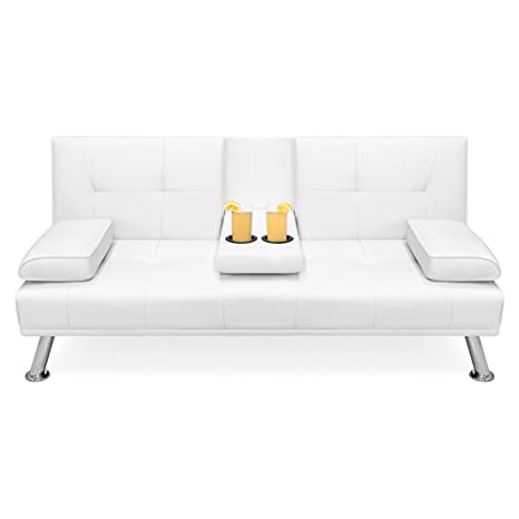 Best Choice Products Faux Leather Modern Convertible Folding Futon Sofa Bed Recliner Couch w/Metal Legs, 2 Cup Holders, White