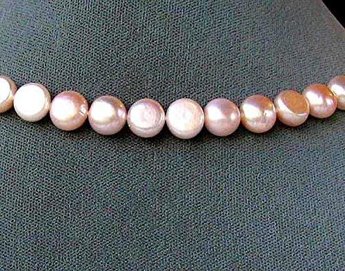 Glowing Soft Peach 9 FW Button Pearls for Jewelry Making 4473 ()