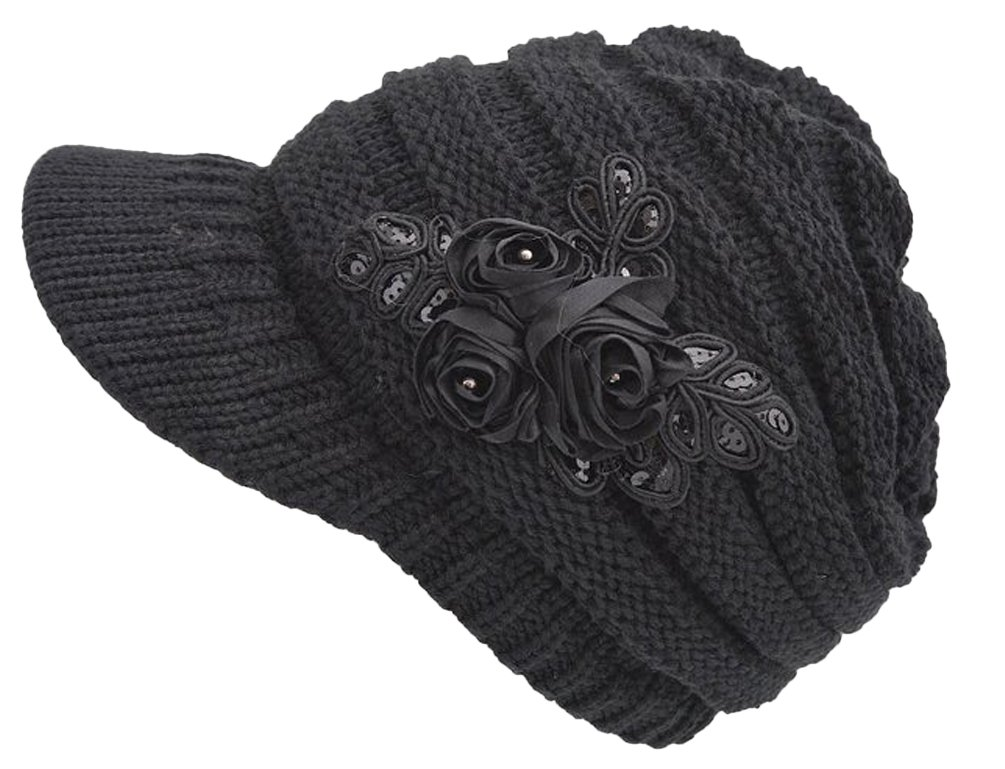 Women Cute Winter Visor Hat Cable Knit Visor Cap with Sequin Flower Accent Black
