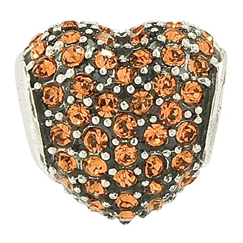 Love Heart Birthstone Authentic Sterling Bead (Topaz November (Spuds Mackenzie Halloween)
