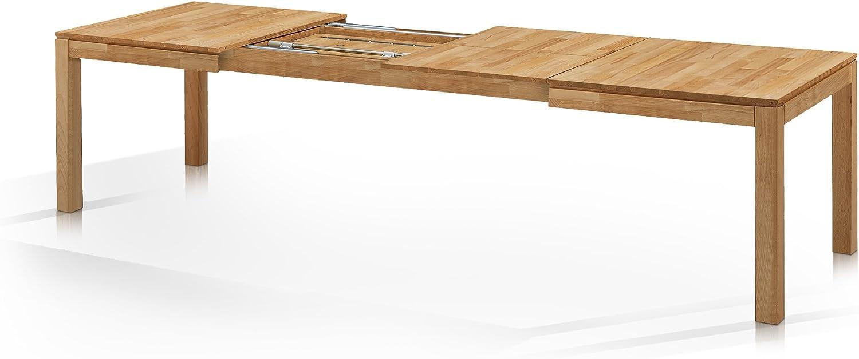Material Massivholz 80x80 cm Kernbuche moebel-eins LISSABON Esstisch//Ausziehtisch