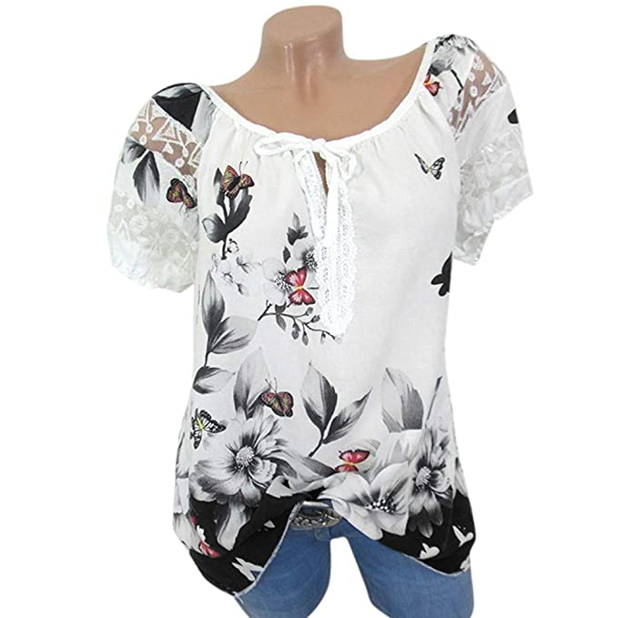 7b234bb7aa2cd2 OOEOO Women Round Collar Short Sleeve Floral Print Lace-up Plus Size Blouse  Top(