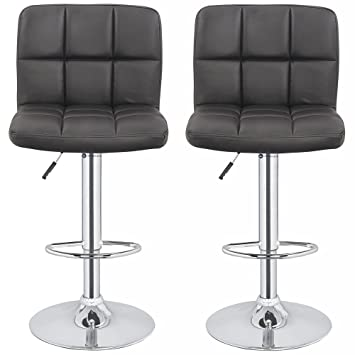 Homegear M2 Contemporary Adjustable Faux Leather Bar Stool X2 (Black)